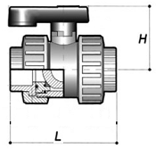PVC/ ABS Double Union Ball Valve Line Drawing