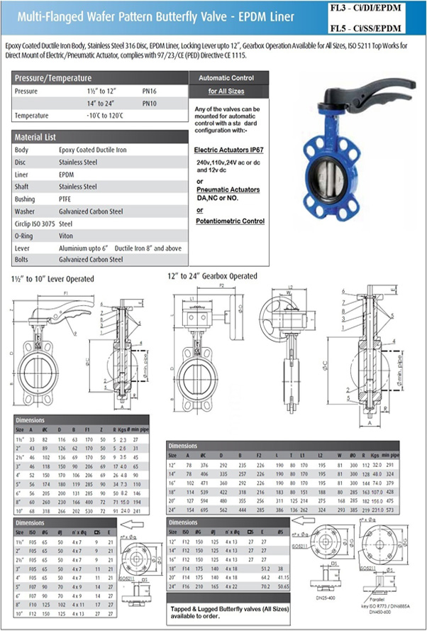 FL3 And FL5 Cast Iron Butterfly Valves
