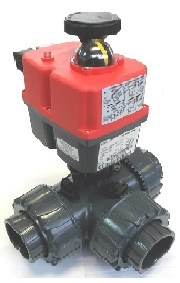 "2"" PVC MOTORISED BALL VALVE 3 WAY L PORT 240V STANDARD C/W J3CH020-2LD ELECTRIC ACTUATOR TORQUE 25Nm 240V AC"